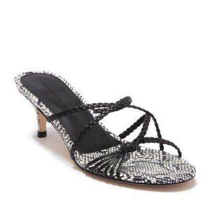 Sigerson Morrison Fyona Snake Leather heel sandal
